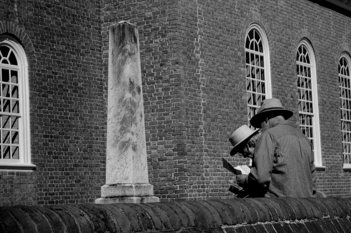 couple in front of church buidling